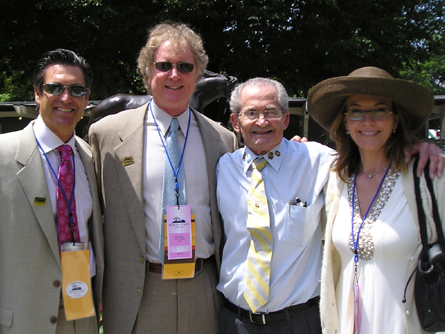 Mark Ciardi, Randall Wallace, Secretariat's exercise rider Jimmy Gaffney and actress Diane Lane in the Belmont paddock.